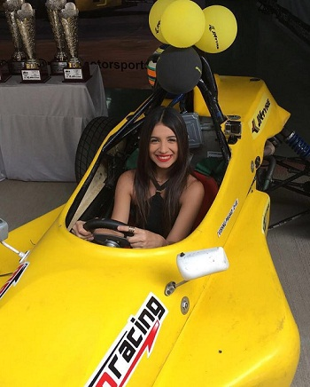 Benafsha Soonawalla in a racing car