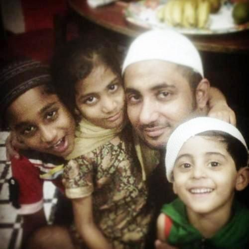 Zubair Khan with his children