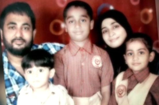 Zubair Khan with his wife & children