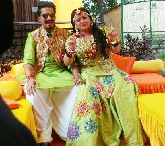 Haarsh Limbachiyaa with Bharti Singh at their Mehndi Ceremony