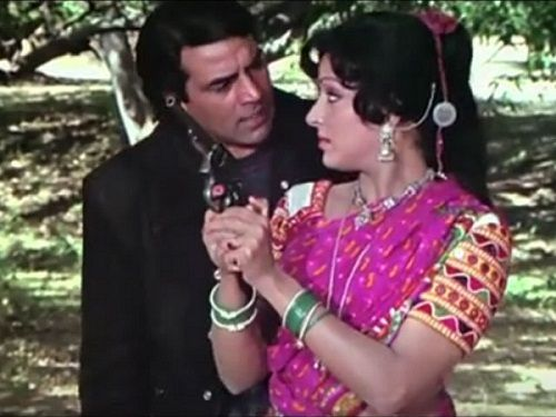 Hema Malini with Dharmendra in Sholay