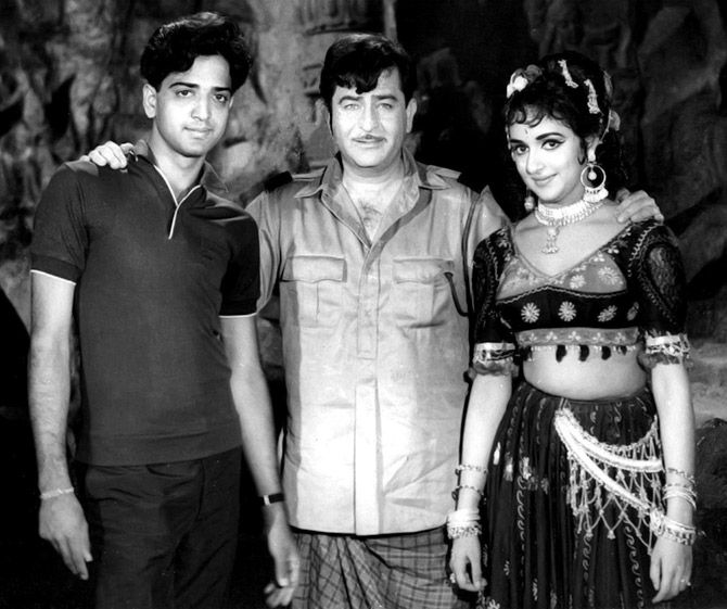 Hema Malini and her brother, R.J.Chakravarti, with Raj Kapoor