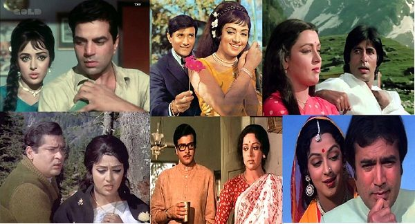 Hema Malini with her co-actors in different films