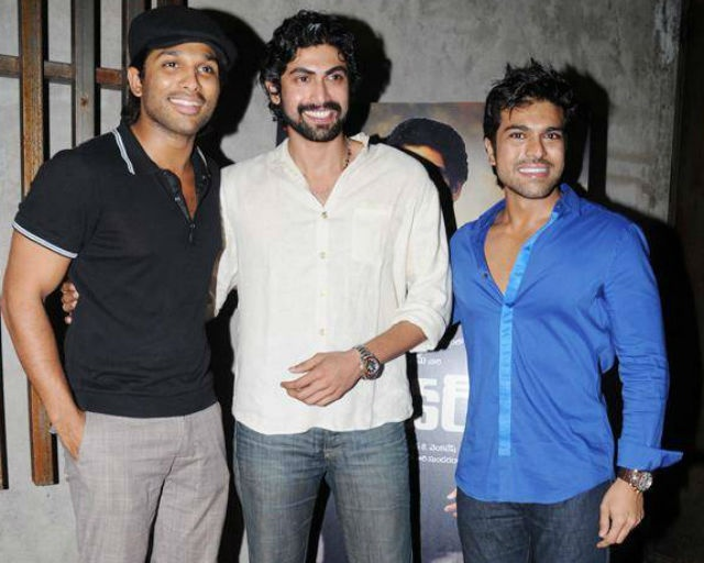 Rana Daggubati with Allu Arjun and Ram Charan