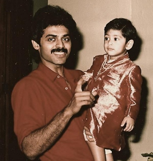 Rana Daggubati with his father (Childhood Picture)