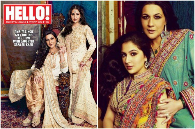 Sara Ali Khan on the cover page of Hello! magazine along with her mother