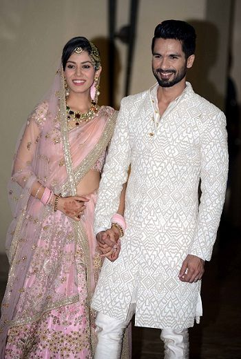 Mira Kapoor at her wedding with husband Shahid Kapoor