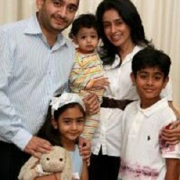 Ami Modi with her husband and children