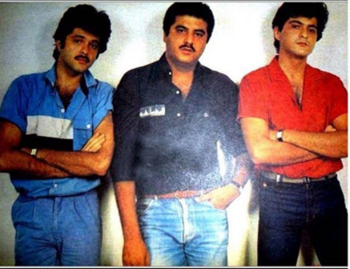 Boney Kapoor with Anil Kapoor and Sanjay Kapoor in younger days