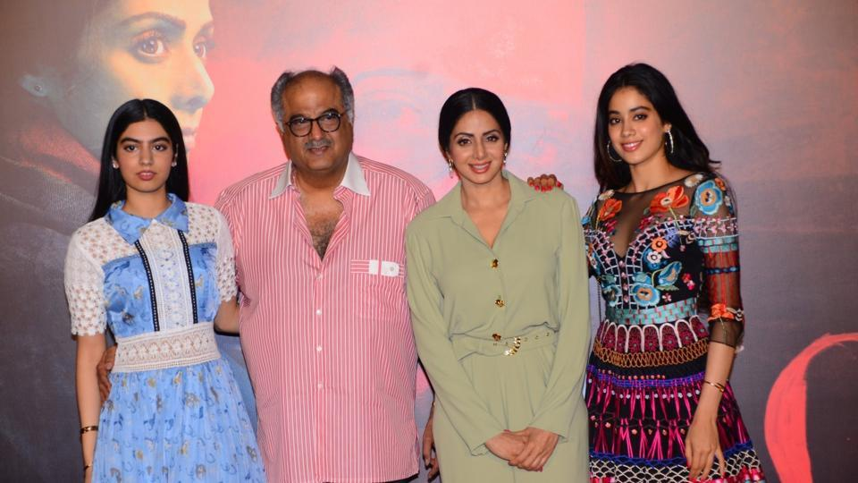 Boney Kapoor with his second wife Sridevi and daughters - Khushi (left most), Jhanvi Kapoor (right most)