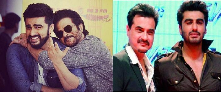 Left-Arjun Kapoor with Anil Kapoor, Right-Arjun Kapoor with Sanjay Kapoor