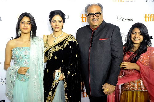 Sridevi with her husband Boney Kapoor and daughters Jhanvi Kapoor and Khushi Kapoor