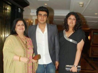 Young Arjun Kapoor with his mother and sister