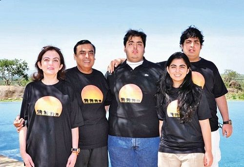 Akash Ambani with his family