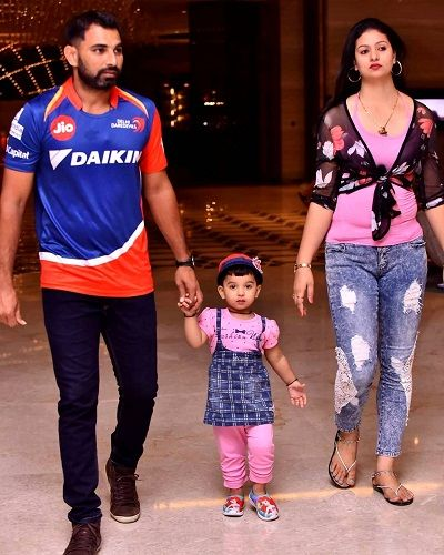 Hasin Jahan with her husband Mohammed Shami and daughter Aairah Shami