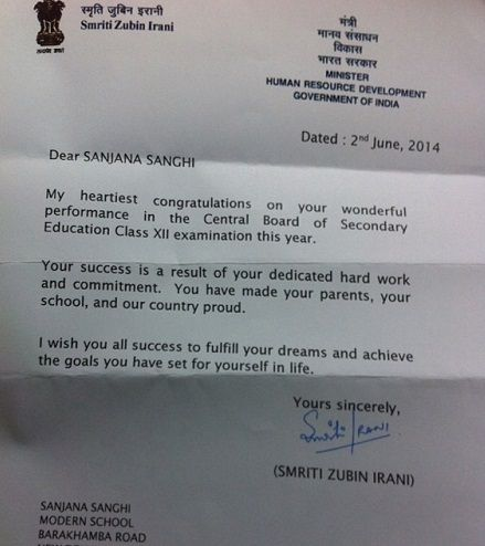 Sanjana Sanghi appreciation letter from Smriti Irani