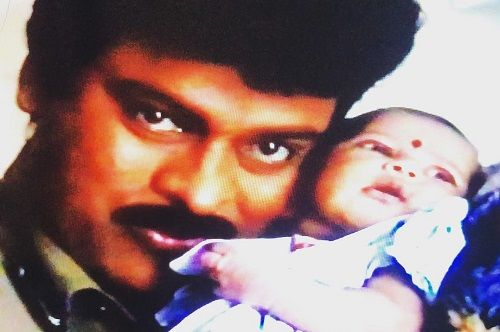 A Childhood Picture of Niharika Konidela With Chiranjeevi