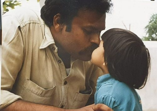 A Childhood Picture of Niharika Konidela With Her Father