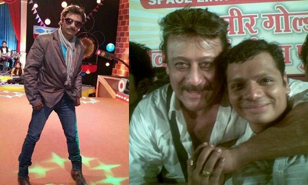 Bhushan Kadu as Jackie Shroff in Comedy Express (Left) and Bhushan Kadu with Jackie Shroff (Right)