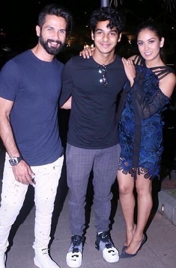 Ishaan Khattar with Shahid Kapoor and Mira Rajput