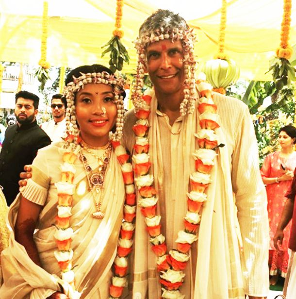 Milind Soman and Ankita Konwar marriage pic