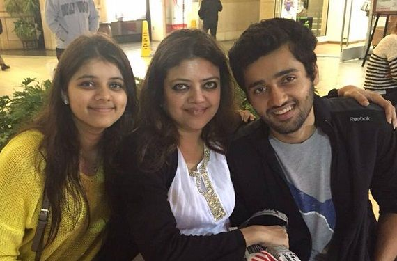 Utkarsh Sharma with his mother and sister
