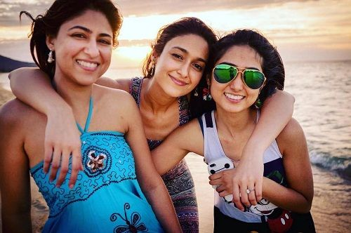 Ileana D'Cruz with her sisters Farrah D'Cruz (Left) and Eileen D'Cruz (Right)