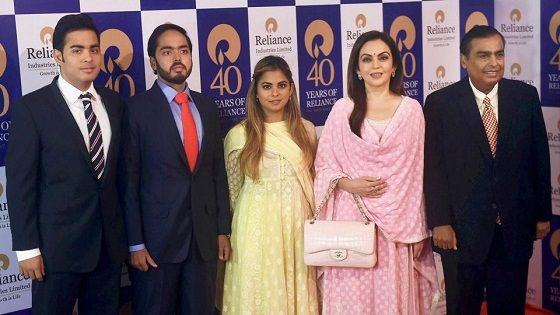 Isha Ambani with her parents and brothers