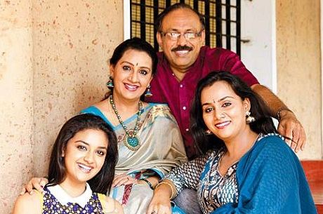 Keerthy Suresh with her family