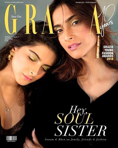 Rhea Kapoor with her sister Sonam Kapoor on cover of Grazia India magazine