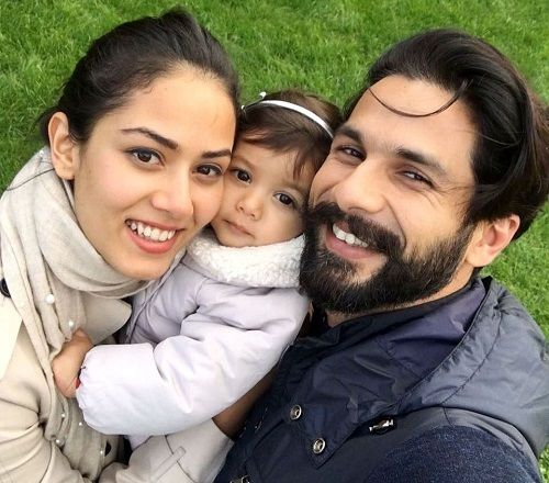 Shahid Kapoor with his wife Mira Rajput and daughter Misha Kapoor