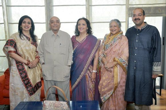 Swati Piramal with her parents, brother and sister-in-law