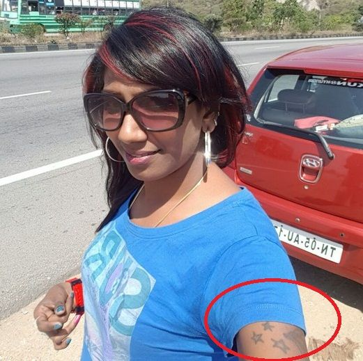 Nithya Balaji stars tattoo on her right arm (Selfie Picture)