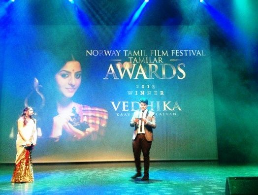 Vedhika Kumar Norway-Tamil Film Festival Award For The Best Actress For The Film 'Kaaviya Thalaivan'