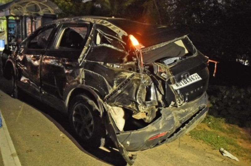 Yashika Ananad's car, which met with a road accident on 25 July 2021