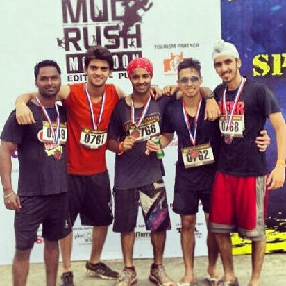 Zaheer Iqbal with his friends after running a marathon