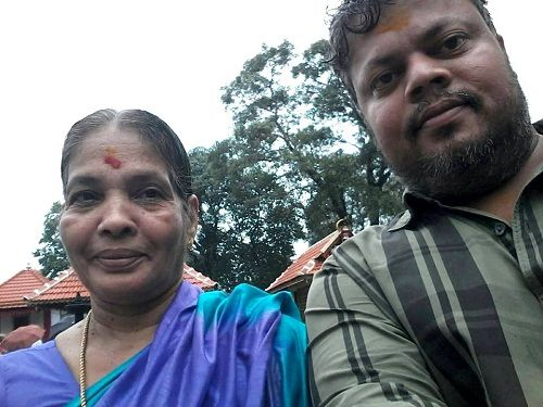Anoop Chandran with his mother