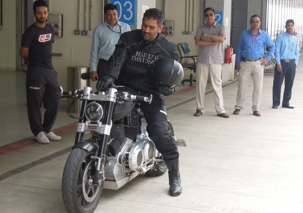 MS Dhoni on his bike