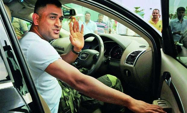 Mahendra Singh Dhoni in his car
