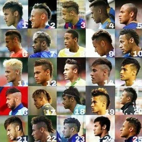 Neymar different hairstyles