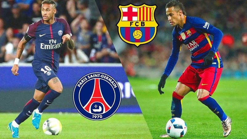 Neymar in Barcelona(left) vs Paris Saint Germain(right)