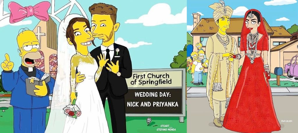 Simpsons Caricatures of Priyanka Chopra and Nick Jonas