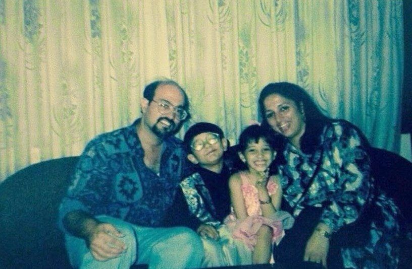 Tamannaah Bhatia with her family- Childhood Picture