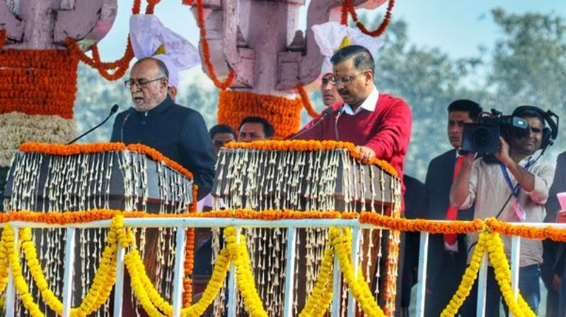 Arvind Kejriwal taking oath as the Chief Minister of Delhi for the third time at the Ramlila Maidan in Delhi