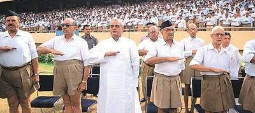 Atal Bihari Vajpayee taking oath in RSS