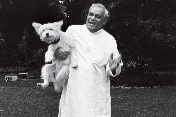 Atal Bihari Vajpayee with his dog