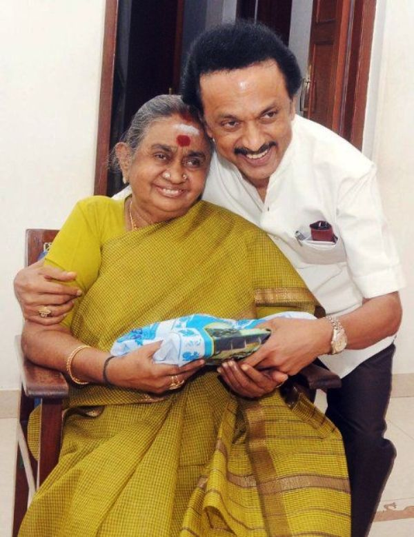 Dayalu Ammal With Her Son M.K Stalin