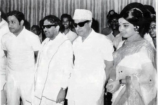 Karunanidhi with MGR and Jayalalithaa