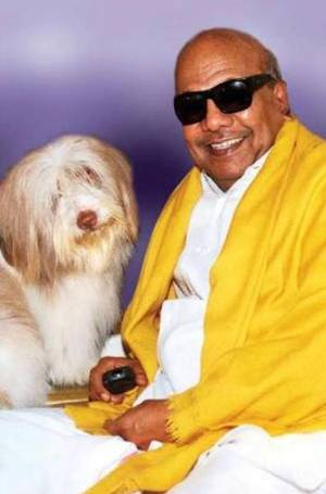 Karunanidhi with his dog