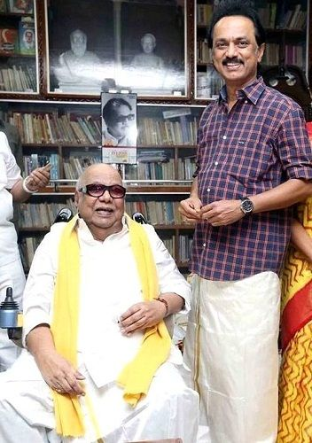M. K. Stalin with his father M. Karunanidhi